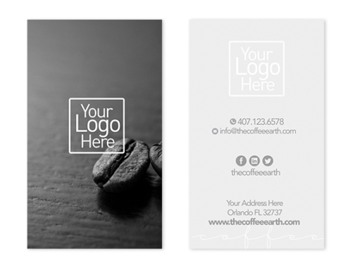 Coffee Shop Vertical Business Card Design 3 - The Coffee Earth