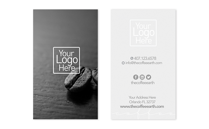 Vertical Business Card Template The Coffee Earth - Business card vertical template
