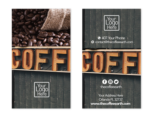 Coffee shop business card design the coffee earth free vertical business card design wajeb Images