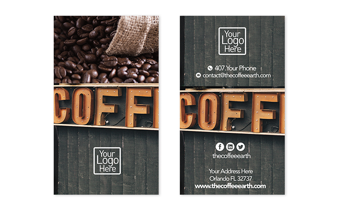 Free vertical business card design the coffee earth take your design to the next level use our free templates homebusiness card designs newsfree vertical business card design flashek Images